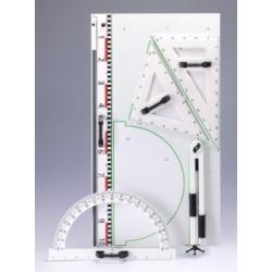 Przybory geometryczne magnetyczne z tablicą