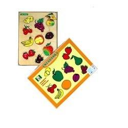 Drewniane puzzle z kołeczkami  Owoce