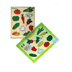 Drewniane puzzle z kołeczkami   Warzywa