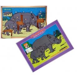 Drewniane puzzle z kołeczkami Nosorożce