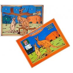 Drewniane puzzle z kołeczkami  Kangury