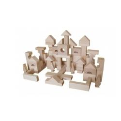 Klocki drewniane 100 sztuk naturalne